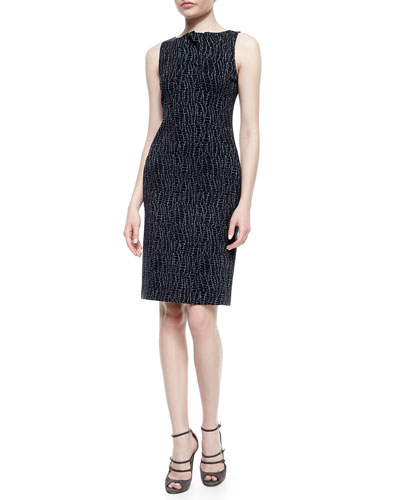 Folded Pleat-Neck Dress, Gray Multi