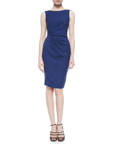 Side-Ruched Twill Dress, Arles Blue