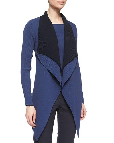 Double-Layer Drape-Lapel Jacket, Arles Blue/Winter