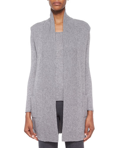 Cashmere Patch-Pocket Long Sweater Vest