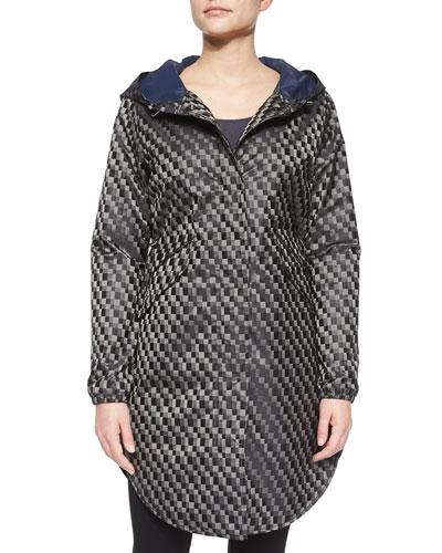 Geometric Hooded Trenchcoat, Gray/Black