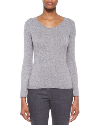 Scoop-Neck Cashmere Knit Sweater