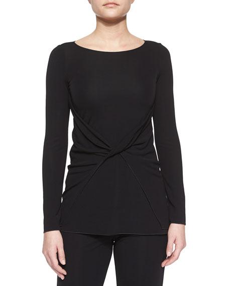 Armani Collezioni Twist-Front Jersey Top, Black