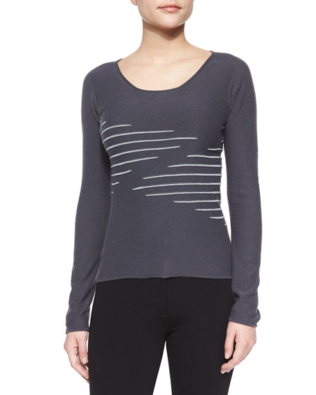 Armani Collezioni Zigzag Scoop-Neck Knit Top, Dark Gray