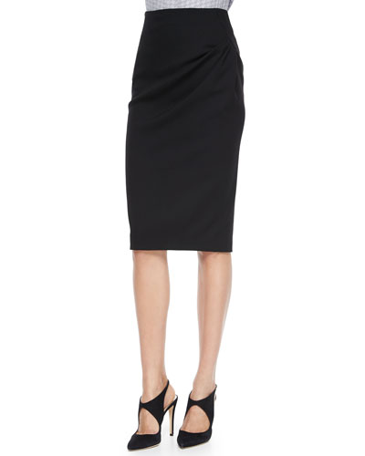 Side-Drape Pencil Skirt, Black