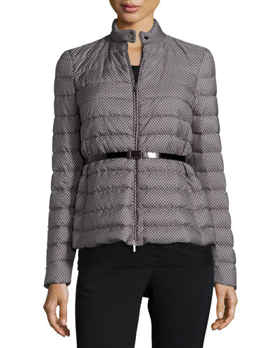 Belted Medallion-Print Puffer Jacket