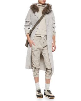 Fox Fur-Trimmed Hooded Cashmere-Blend Ribbed Coat