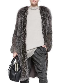 Fox Fur Cashmere-Knit Long Coat
