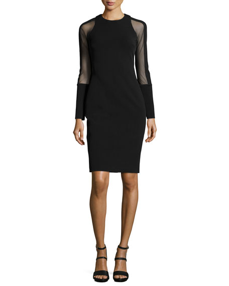 Cushnie et Ochs Mesh-Sleeve Sheath Dress