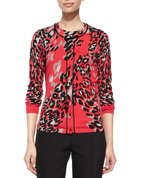 Escada Leopard-Print Beaded-Neckline Cardigan, Multi Colors