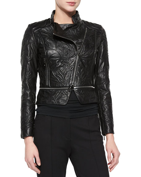 Escada Climbing Flower Cropped Leather Jacket, Black