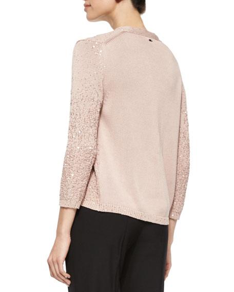 Sequin Yarn Cardigan, Gloss Pink