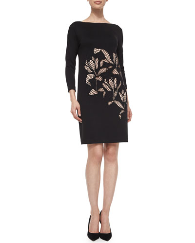 Dondi Open-Lace Shift Dress, Black