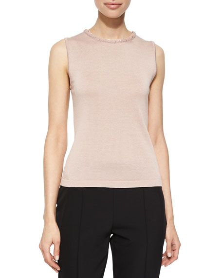 Escada Sleeveless Knit Top with Sequin Trim, Gloss
