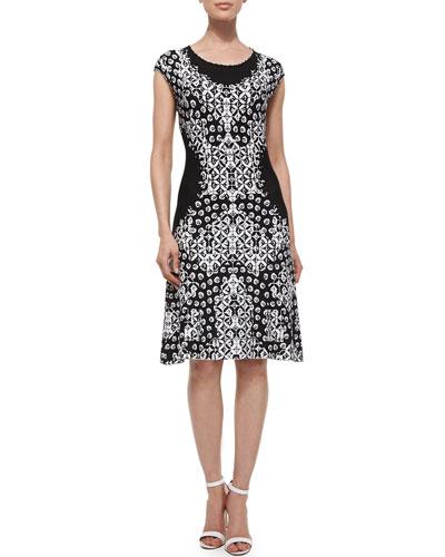 Flower Placed Twirl Dress, Black/White