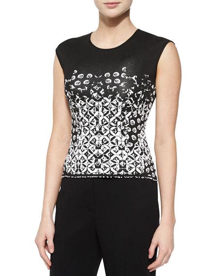 Escada Twirling-Flower Pattern Top, Black/White