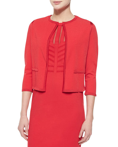 Knit-Trimmed Open Cardigan, Tivoli Red