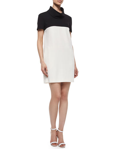 Short-Sleeve Colorblock Shift Dress, Off White