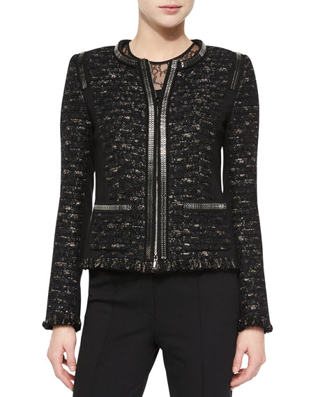 Escada Dondi Zip-Chain Jacket, Black