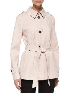 Techno Belted Short Coat, Gloss Pink
