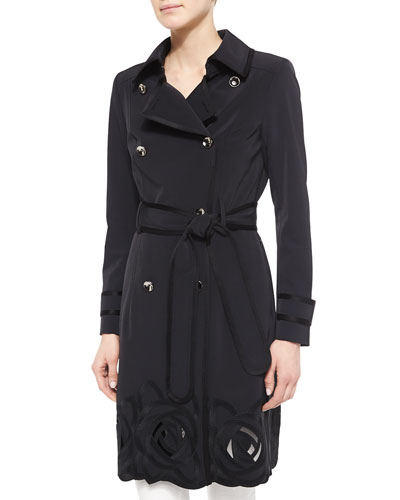 Floral Embroidered Trench Coat, Black