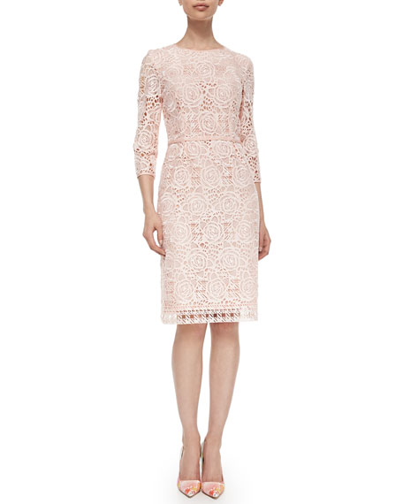 Allover Rose Checked Swiss Lace Dress