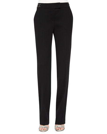 Escada Tammanu Ring-Detail Straight Leg Pants, Black
