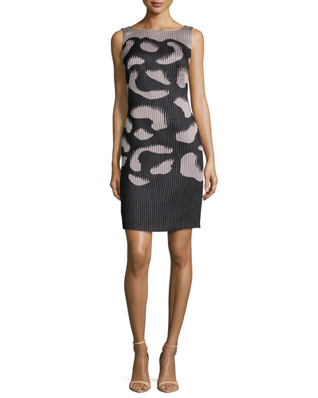 Escada Sleeveless Two-Tone Ribbed Dress, Black/Nude