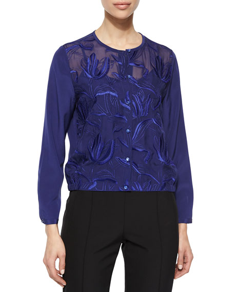 Escada Climbing Floral Embroidered Blouse, Ink
