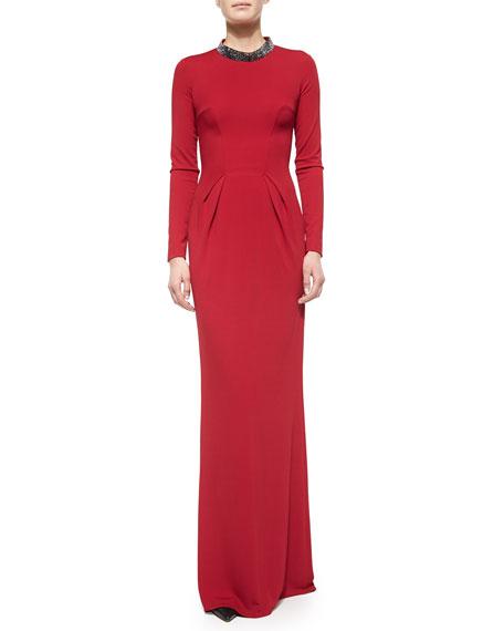 Escada Long-Sleeve Crystal-Collar Gown, Dark Tivoli Red