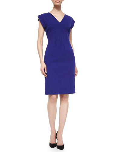 Short-Sleeve Vertical Seam Sheath Dress, Ink