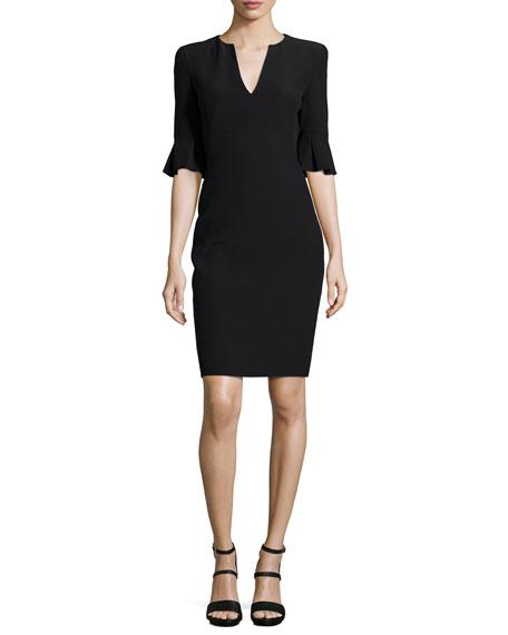 Alexander McQueen Bell-Cuff V-Neck Sheath Dress, Black