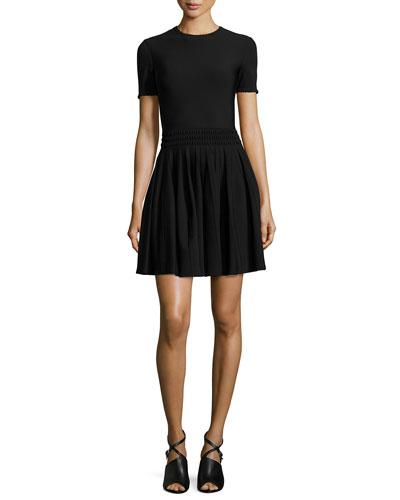 Textured-Waist Pleated Dress, Black