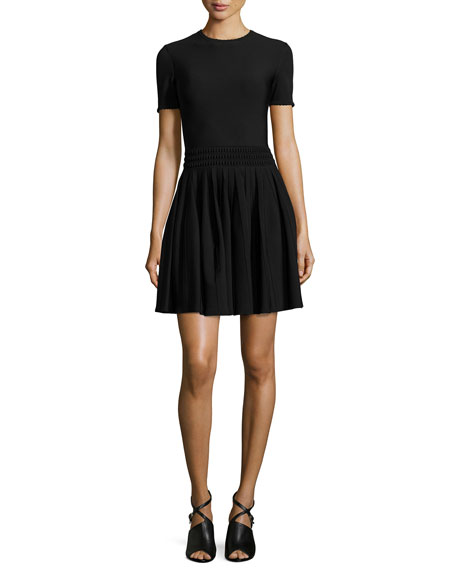 Alexander McQueen Textured-Waist Pleated Dress, Black