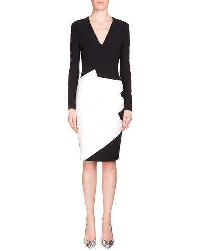 Sanbre Asymmetric Contrast Sheath Dress