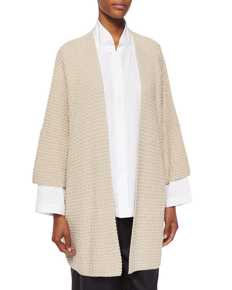 3/4-Sleeve Open Merino Cardigan