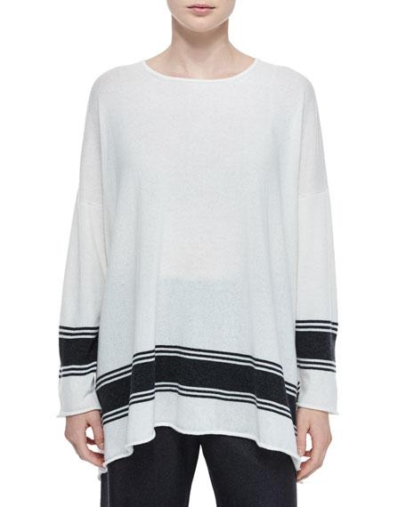 eskandar Ribbon-Striped Cashmere A-Line Sweater