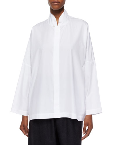Sloped-Shoulder Imperial Shirt, White