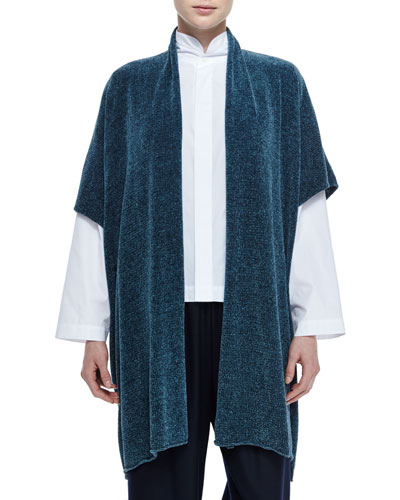 Short-Sleeve Chenille Cardigan