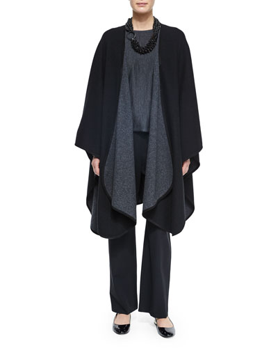 Cashmere-Blend Reversible Curved-Edge Cape