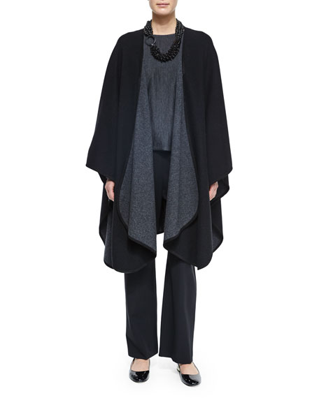 eskandar Cashmere-Blend Reversible Curved-Edge Cape