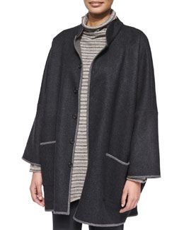 Two-Tone Long Slope-Shoulder Coat