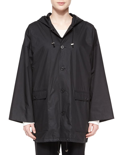 Hooded Lined Button Raincoat