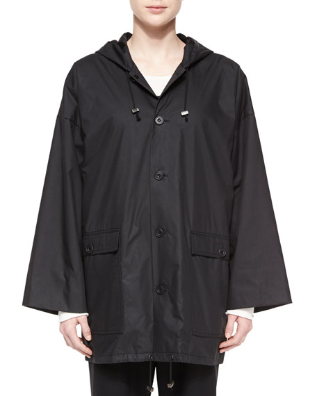 eskandar Hooded Lined Button Raincoat