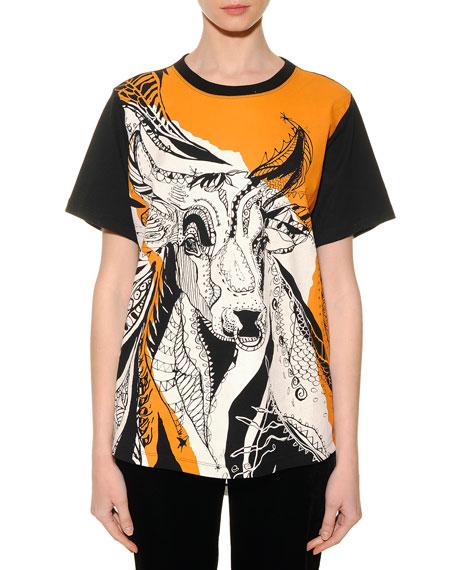 Taurus Graphic-Print Sheer-Back T-Shirt