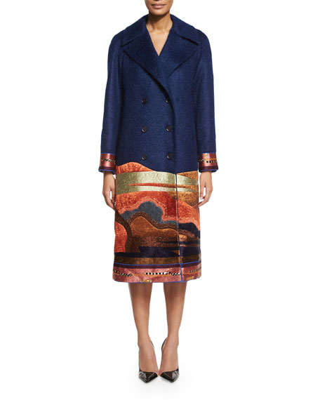 Etro Embroidered Landscape Double-Breasted Coat, Navy