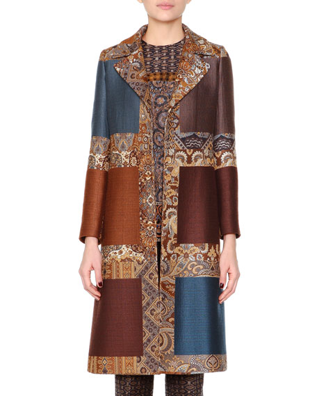 Etro Colorblock Jacquard Fitted Coat