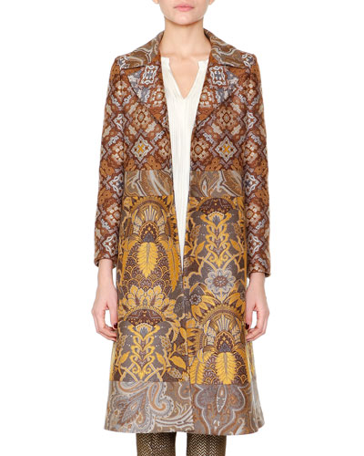 Paisley Jacquard Fitted Coat