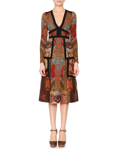 Etro Patchwork Paisley Jacquard Dress