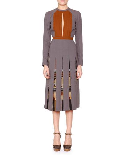 Slit-Keyhole Pleated Dress